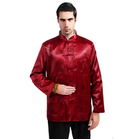 Burgundy Chinese Style Men Martial Arts Jacket Traditional Totem Kung Fu Coat Satin Tang Suit Top