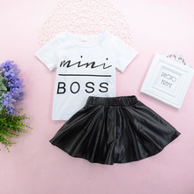 2Pcs Mini Boss Summer Baby Girl Clothes Letter Short Sleeve + Solid Leather Skirt Fashion Cute Toddler Kid Outfit