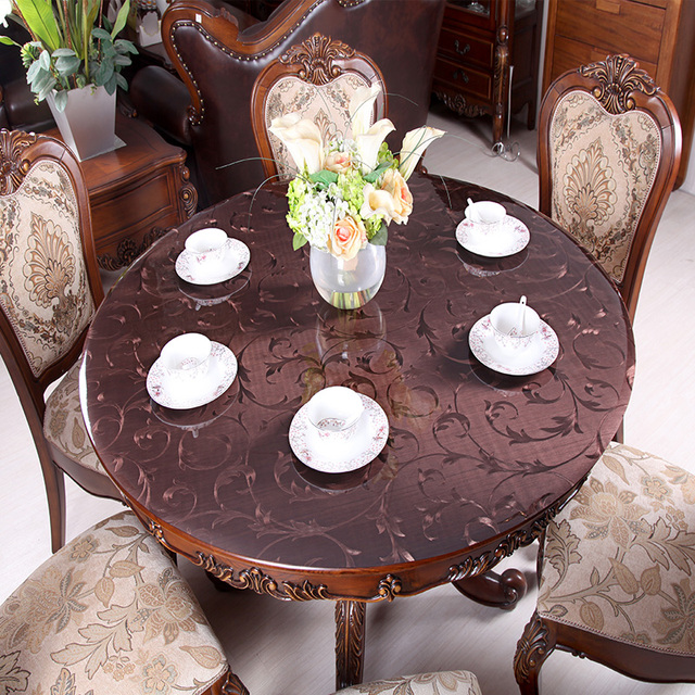 Soft Gl Round Tablecloths Retro Copper Color Pvc Waterproof Tablecloth European Dining Table Pad Coffee