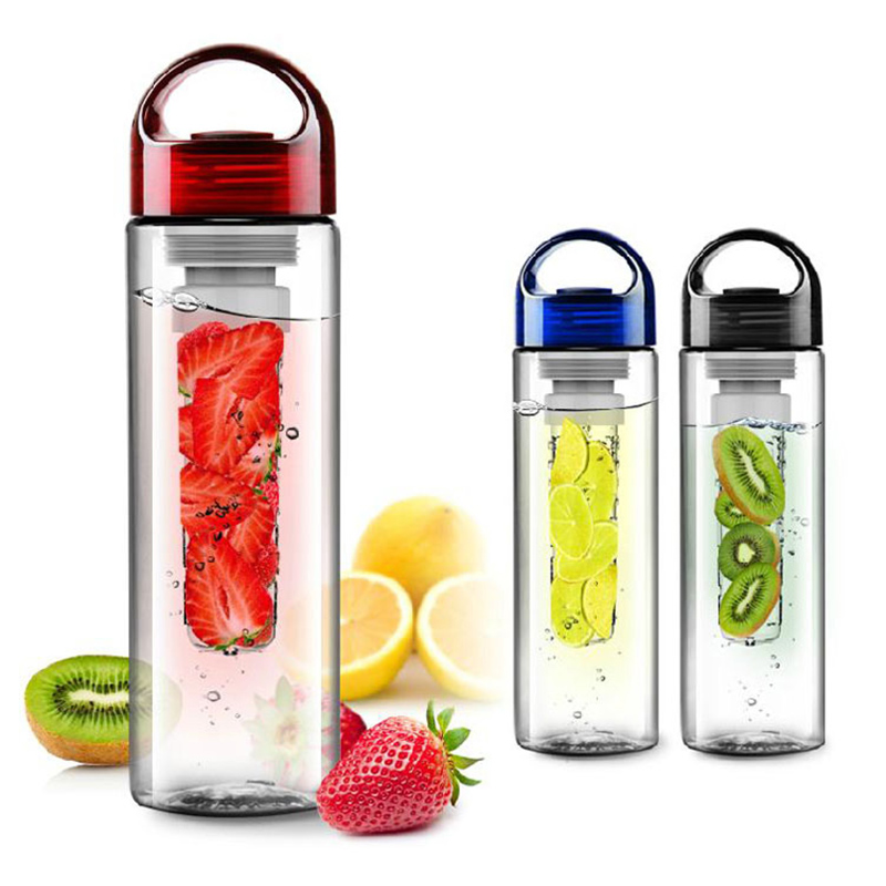 Newly Plastic700ML Portable Fruit Infuser Water Bottle with Filter Leakproof Sport Hiking Camping Outdoor Fruit Drink Bottle