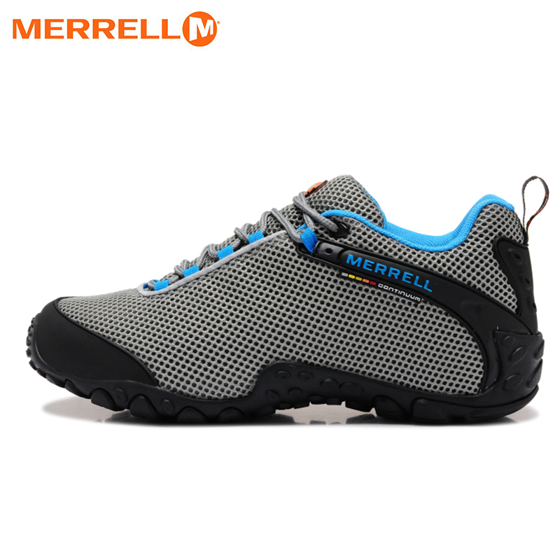 Original Merrell Men Breathable Camping Outdoor Sport Mesh Hiking Shoes For Male Grey Blue Mountaineer Climbing Sneakers 39-44 large size 38 44 men outdoor moutain sport climbing sneakers 2017 men lace up mesh breathable hiking shoes