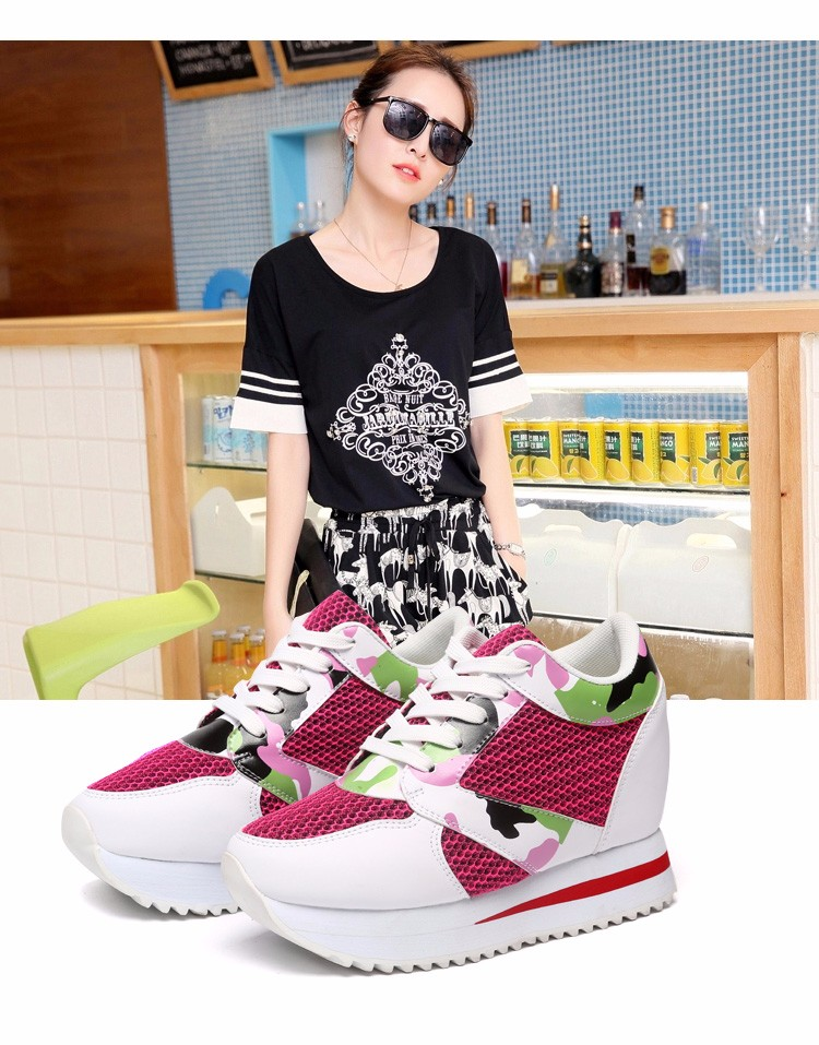 KUYUPP 2016 Fashion 4cm Hide Heels Women Casual Shoes New Breathable Mesh Flat Platform Women Shoes High Top Wedges Shoes YD108 (2)