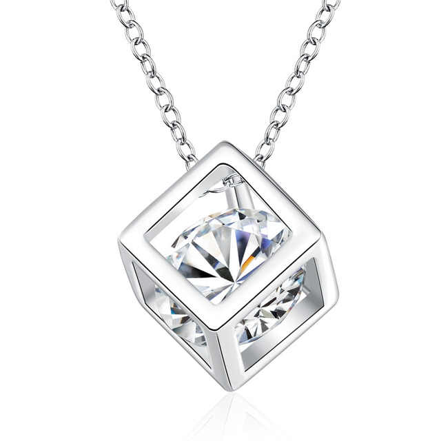 Square Crystal 925 Sterling Silver With CZ Women Fashion Necklaces &   Pendants Jewelry For Girls Christmas Party Gift