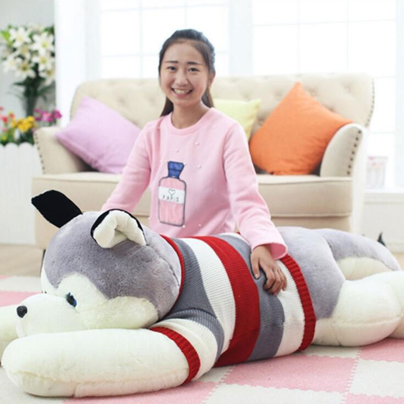 200CM Large Size Cute Husky Cushion Papa Plush Toy Dog Doll Oversize Dog Toys For Valentine 's Day Gift Creative Birthday Gift 45cm cute dog plush toy stuffed cute husky dog toy kids doll kawaii animal gift home decoration creative children birthday gift