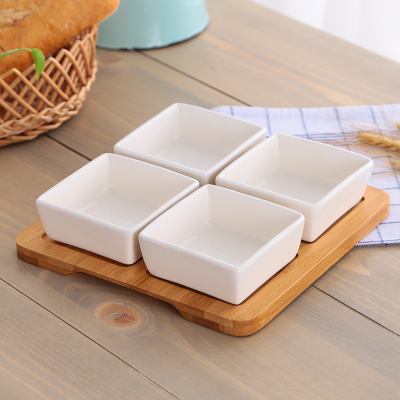 Home Kitchen Ceramic Olive Oil Soy Sauce Bowl Lving Room Peanut Seeds Snacks Dish 4 Pcs