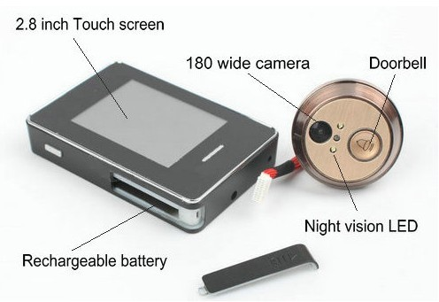 180 Degree Wide Angle 2.8 Inch Touch Screen Peephole Viewer Video Door Phone
