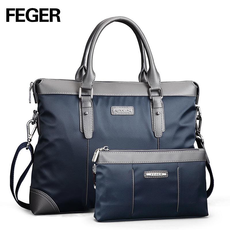 FEGER Nylon Men Bag Business Briefcase Handbag Shoulder Bag Daily Use 13 Laptop Bag Free Shipping