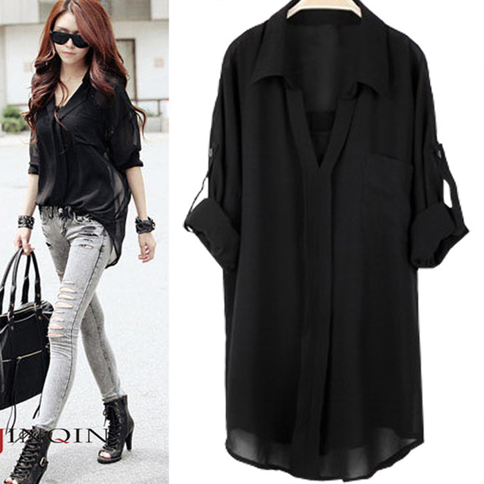 6954cc97c1f Aliexpress.com   Buy New arrival blusas plus size chiffon shirt short  sleeve fashion casual twinset chiffon blouses loose women tops 3 color from  Reliable ...
