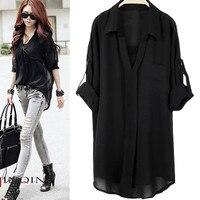 New Arrival Plus Size Chiffon Shirt Short Sleeve Fashion Casual Twinset Chiffon Blousse Women Loose Tops