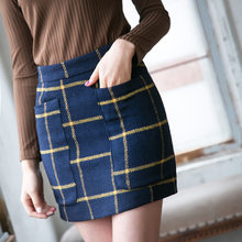 Autumn New Fashion Plaid Mini Skirt Bag Hip High Waist Skirt with Pocket Decorated Office Skirts Womens Free Shipping 2017(China)