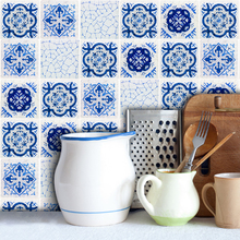 18pcs/set Mosaic Wall Sticker Porcelain Self Adhesive Tile Floor Wall Decal Sticker for Kitchen Bathroom Livingroom Home Deor