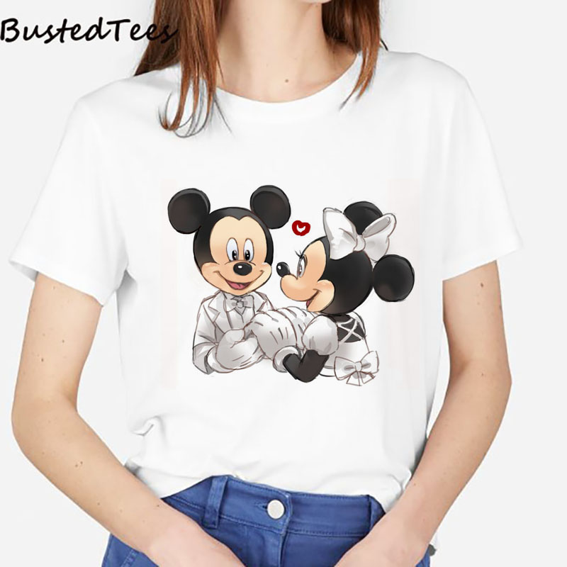 2019 BUSTED Newest 90s Women Vintage Mickey And Minnie Wedding Print T-shirts Romantic Cotton Soft Pink Kawaii Couple Tops Tee