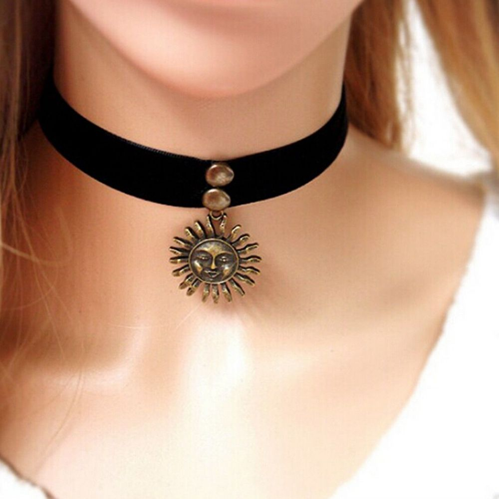 Vintage Goth Handmade Flaming <font><b>Sun</b></font> Choker Pendant Necklace Fashion Simple Collar Ribbon Necklace <font><b>Jewelry</b></font> image