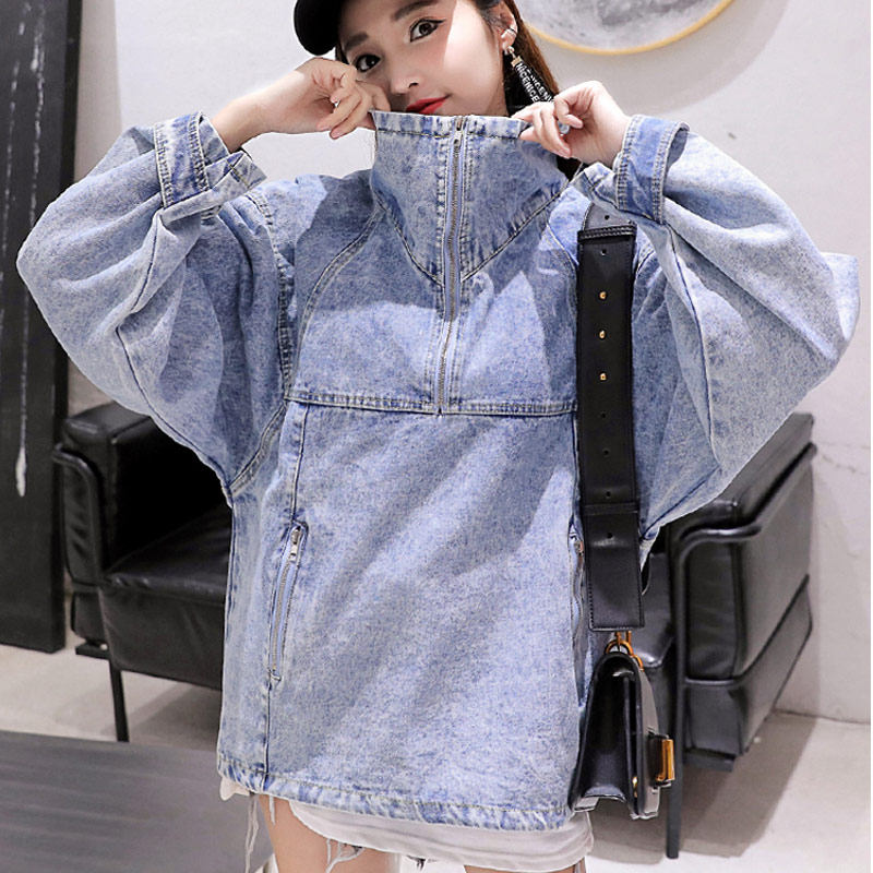 Spring And Autumn Harakuju Denim Sweatshirt Women Jean BF Loose Hoodies Hip Hop Zipper Collar Sweatshirts