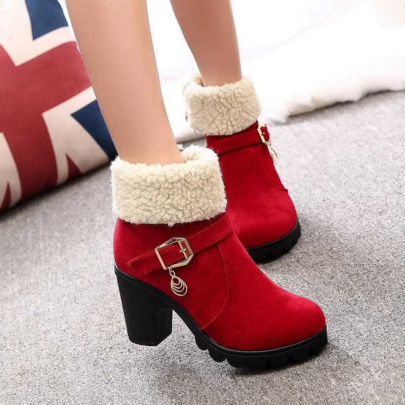 2018 Fashion Women Boots Female Warm Peluche Snow Ankle Boots Ladies Rollable Plush Fur Winter High Heels Shoes Botas Inverno women boots 2016 fashion botas femininas warm winter snow boots female lace up fur ankle boots 7 color flats ladies shoes