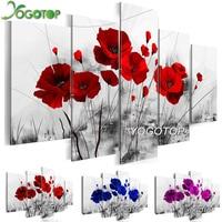 YOGOTOP DIY Diamond Painting Cross Stitch Kits Full Diamond Embroidery 5D Diamond Mosaic Home Decor Poppy Flower 5pcs ML413