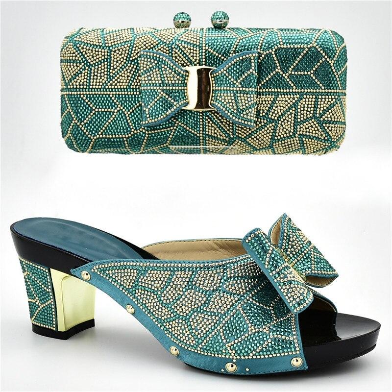 Últimos Italianos plata Juego Y oro Diamantes Fiesta Africanos Elegantes Zapatos Negro Imitación Bolsos azul amarillo Para De Con Nigerianos Decorados púrpura Mujer A rX18rqxw