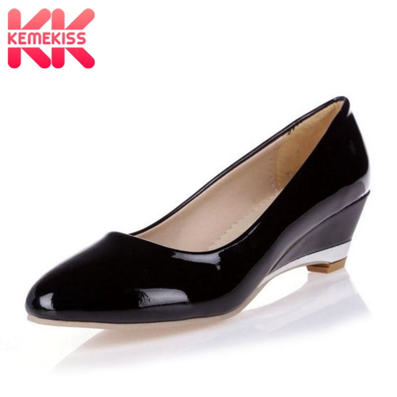 KemeKiss Plus Size 28-52 Dropshipping Women Wedges Shoes Round Toe Patent Leather Sexy Fashion Shoes Daily Party Club Footwear