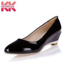 KemeKiss/Большие размеры 28-52, Прямая поставка женский обувь на танкетке пикантная модная обувь из лакированной кожи с круглым носком Повседневные Вечерние Клубные туфли