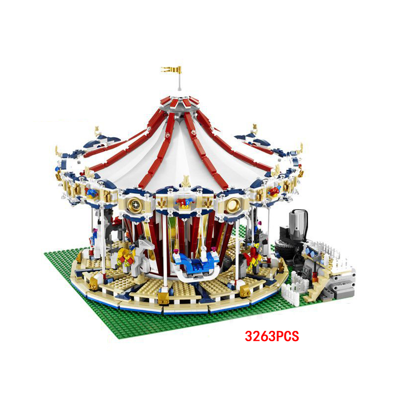 Hot funland Merry-go-round building block with motor figures whirligig bricks 10196 model electric toys collection for kids gfit patrulla canina with shield brinquedos 6pcs set 6cm patrulha canina patrol puppy dog pvc action figures juguetes kids hot toys
