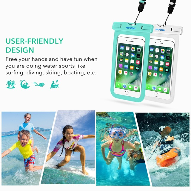 Mpow IPX8 Waterproof Pouch 6 inch Universal Phone Dry Bag For iPhone