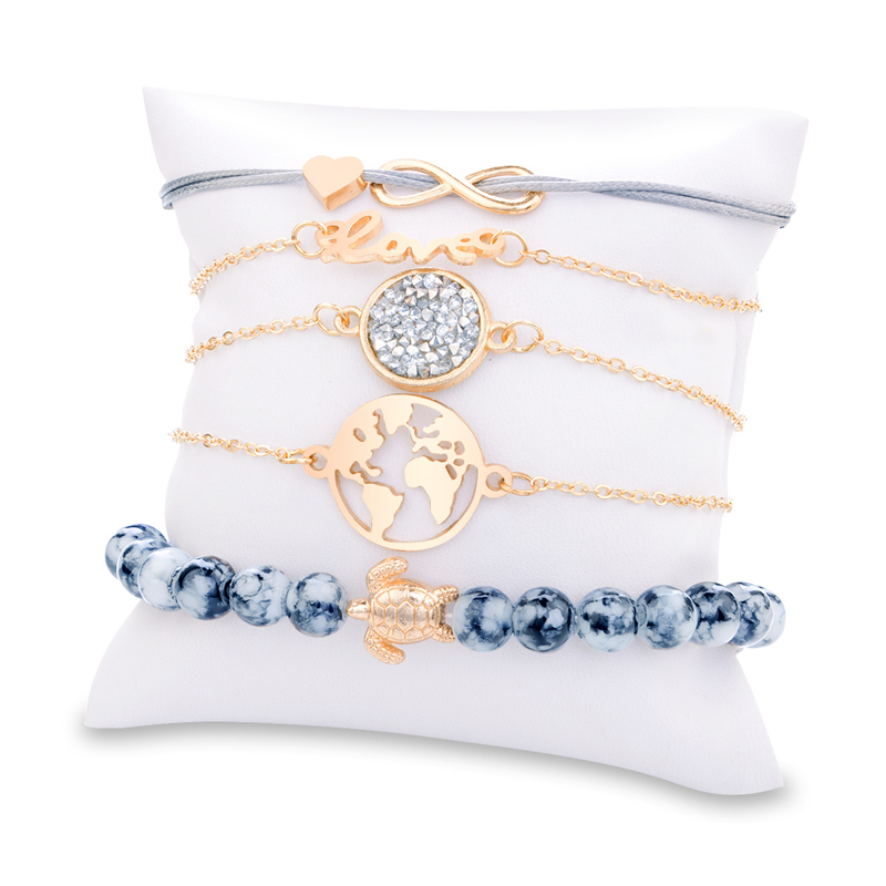 Sitaicery 5Pcs set Love Turtle Bracelet Set Crystal Marble Charm Bracelets For Women Bohemia Tassel Bracelet Jewelry Wholesale in Charm Bracelets from Jewelry Accessories