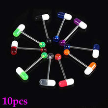 10pcs/lot Mixed Color Pill Style Tongue Nipple Bar Ring Barbell Body Piercing T15