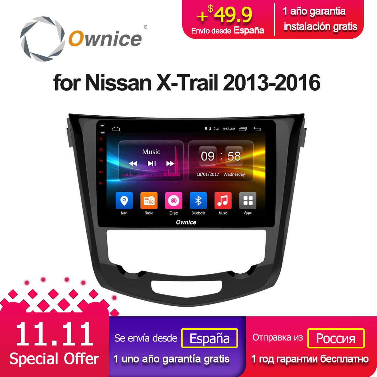 Ownice C500 + G10 10.1 ''Android 8.1 Octa base Pour Nissan X-TRAIL 2013 2014 2015 2016 Voiture Radio GPS navi DVD Lecteur 2g/32g 4g LTE