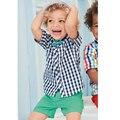 Hello Bobo Summer Newest Design Baby Boys Clothing Set Ropa De Bebe Plaid Shirt Top+Short Pants Suit Boys Vestido Baby Sets