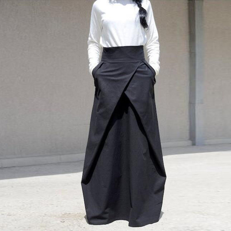 High Quality Custom Made Long Black Skirt Ball Gowns With Pockets Pleated Satin Floor Length Maxi Skirts Women Female Skirts