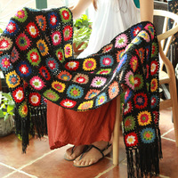 Black 190*55 Sofa Mat Outdoor Tea Ceremony Hand Hooked Fashion Crochet Blanket Cushion Felt Pastoral Style Gift