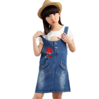 2017 New Fashion Summer Embroidery Floral Baby Kids Girls Toddler Denim Jeans Overalls Bib Dress Clothes