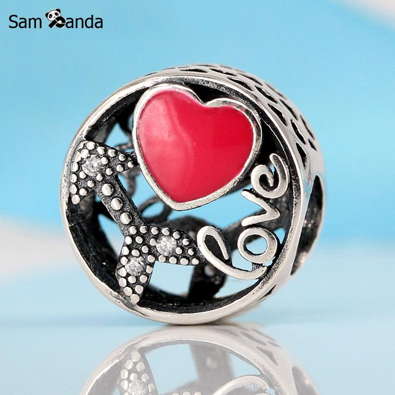 Authentic 100% 925 Sterling Silver Charm Beads Struck By Love Charms Fit Original Pandora Bracelets & Bangles Women DIY Jewelry ...