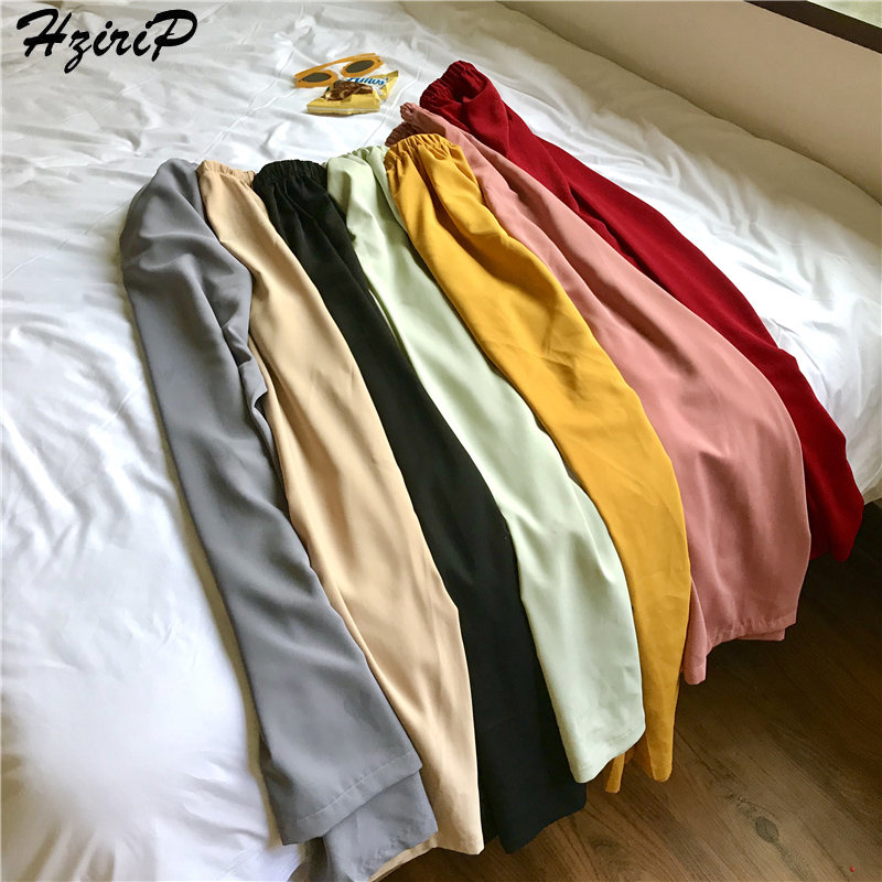 HziriP Loose Casual Fresh New 2019 Spring Summer Stylish Female Elastic Simple Ladies Hot Empire Simple Free   Wide     Leg     Pants