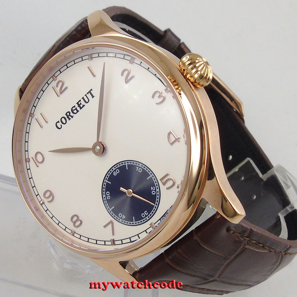 44mm Corgeut white dial rose golden case 6498 hand winding mens watch C20 corgeut 44mm white dial rose golden case hand winding 6498 mens watch