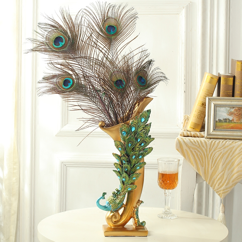 European Creative Home Decorations Living Room Tv Cabinet Vase Crafts Dried Flower Peacock Soft