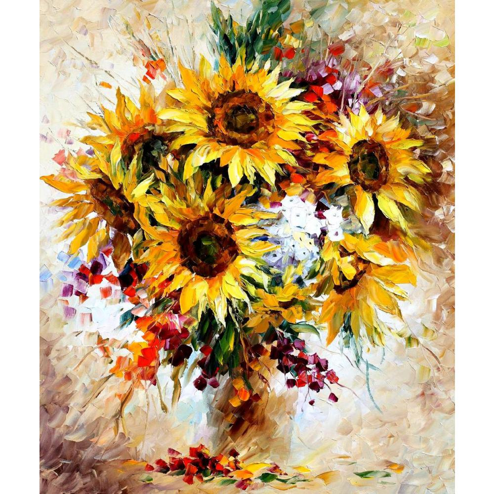 Contemporary art sunflowers knife oil painting canvas beautiful contemporary art sunflowers knife oil painting canvas beautiful flower pictures for dining room decor in painting calligraphy from home garden on izmirmasajfo