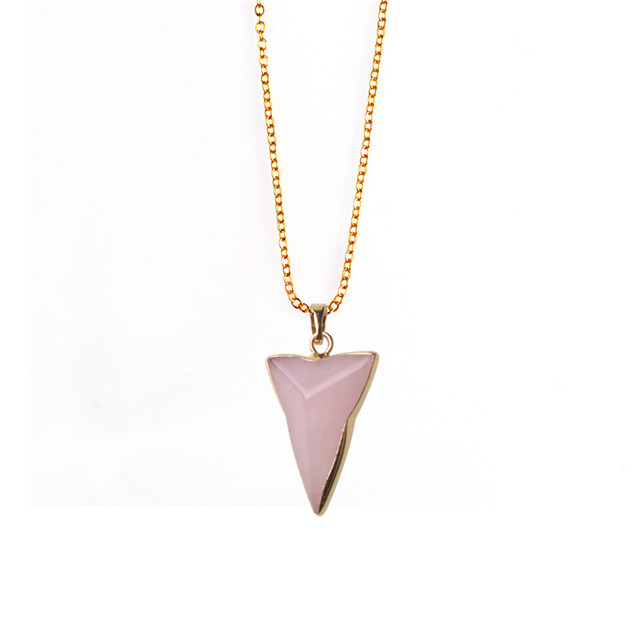 Bohemia body chain pink quartz stone triangle necklace natural stone healing crystal pendant necklaces for women boho jewelry in pendants from bohemia body chain pink quartz stone triangle necklace natural stone healing crystal pendant necklaces for women Choice Image