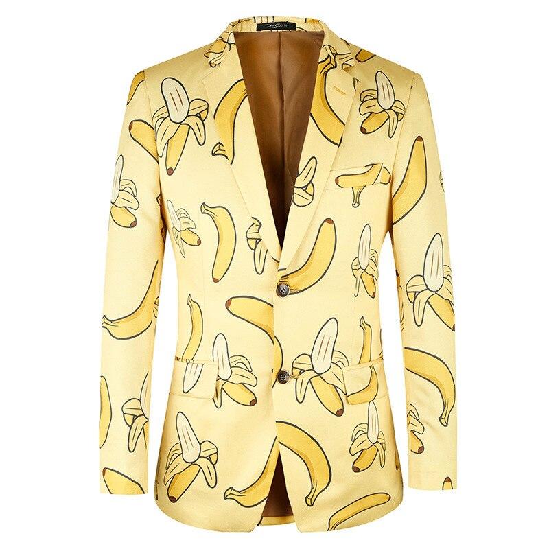 Suit Jacket Blazer Casual Yellow Plus Brand Fashion Banana-Pattern Euro-Size Men High-Quality