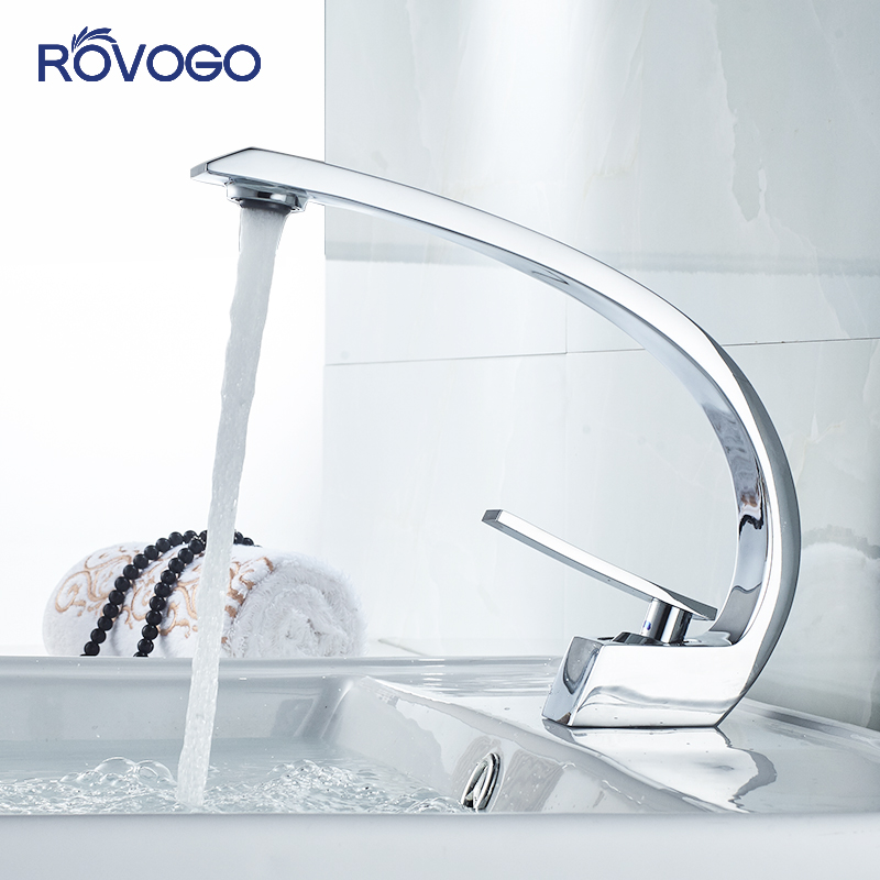 ROVOGO Bathroom Faucet Brass Chrome Basin Mixer Silver And Black Crane Cold And Hot Tap Save Water Bubble Aerator Sink Faucet