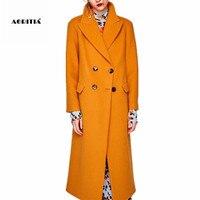 2017 Winter Coat Women Woolen Long Jackets Pocket Double Breasted Blends Outerwear Wool Coats