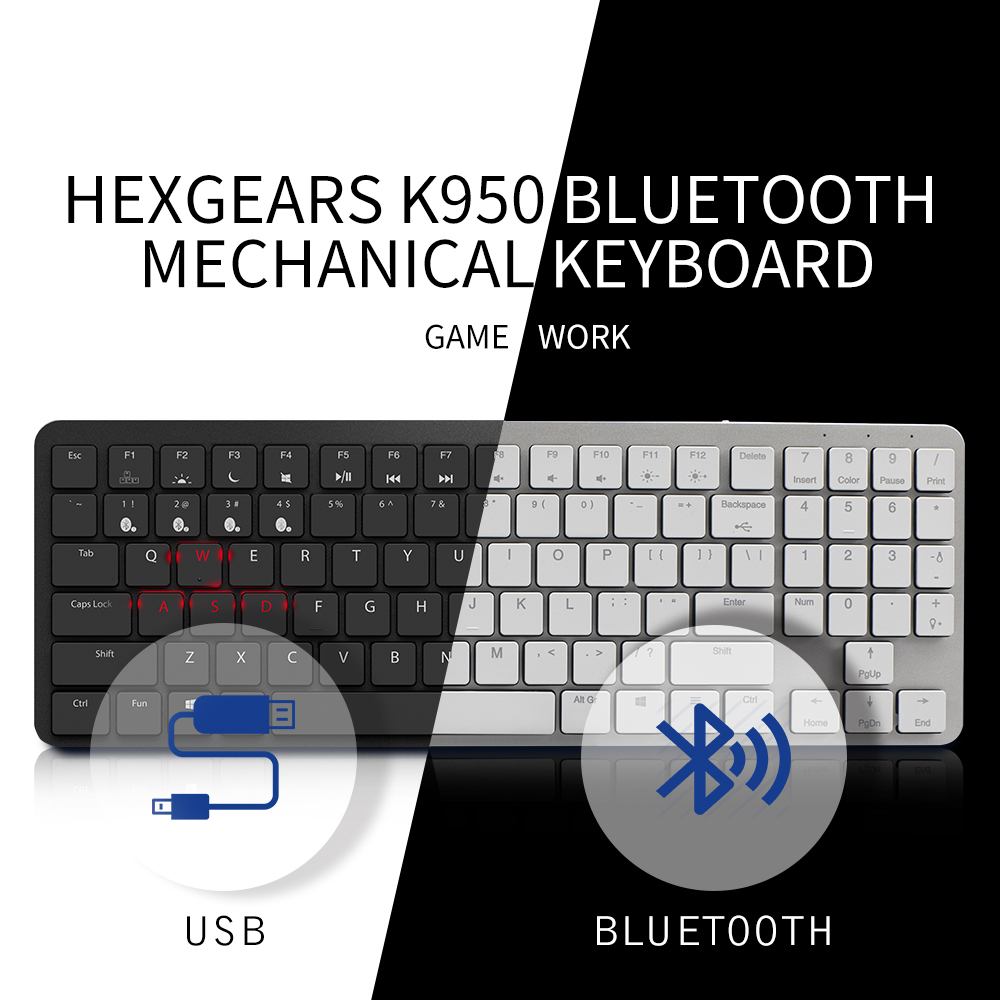HEXGEARS X1 Teclado Bluetooth Backlight RGB Interruptor Kailh Teclado PBT Keycap Slim Gaming Gamer Teclado Mecânico Sem Fio