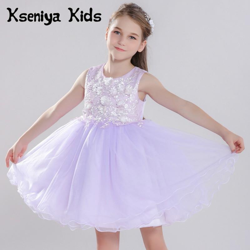 Kseniya Kids 2018 Spring Summer New Sweet Children's Lace Princess Sleeveless Big Girl Dress Wedding Dress For Girl hearted shape back summer new princess girl s lace christening white big bowknot mesh sleeveless show performance formal dress