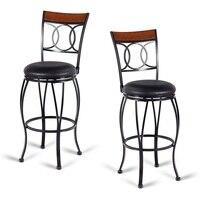 Elegant Set of 2 Retro Swivel Bar Kitchen Stools 360 Degree Swivel Comfort Ergonomic Backrest Sponge Cushion Foot Rest HW58904