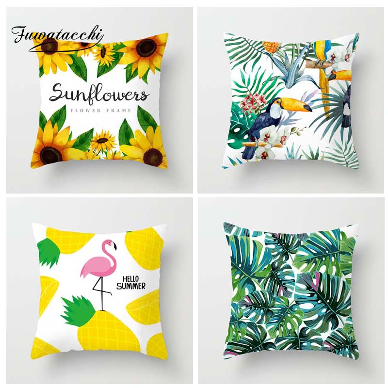 Fuwatacchi Tropical Plant Printed Cushion Cover Summer Style Pillow Cover Flamingo Pineapple Decorative Pillowcase For Home Sofa