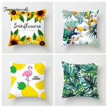 Fuwatacchi Tropical Plant Printed Cushion Cover Summer Style Pillow Flamingo Pineapple Decorative Pillowcase for Home Sofa