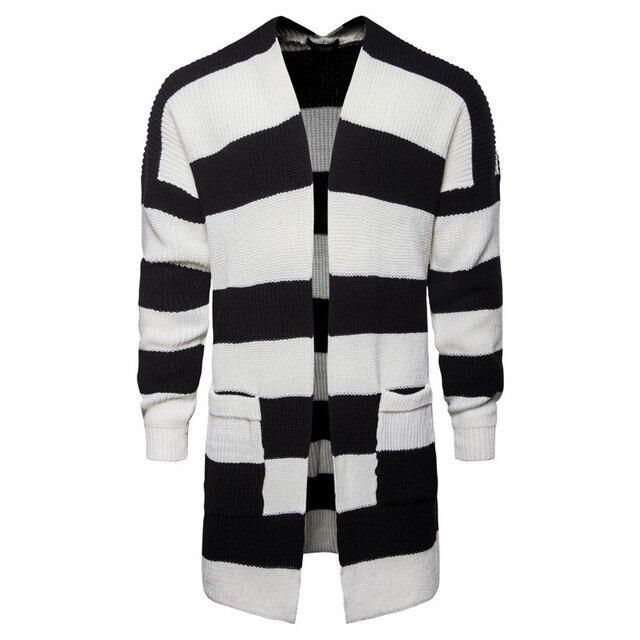 Fashion New Mens Black White Patchwork Color Cardigan Men Long