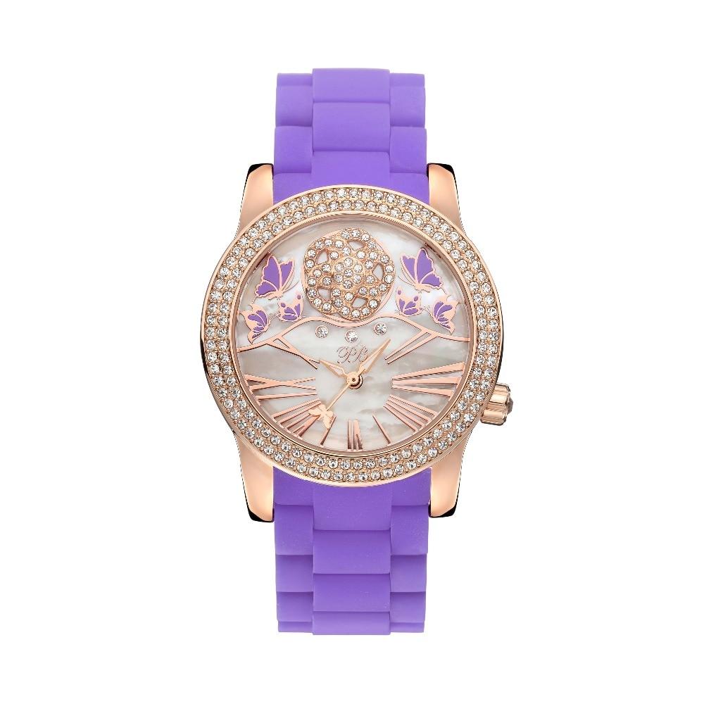 New Fashion Princess Butterfly Luxury Purple Rose Watch Austria Crystal Silicone Watch Lady Sapphire Rhinestone Wrist Watch matisse lady austria full crystal dial