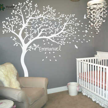 Wall Decal Vinyl Sticker Nursery Large White Tree Bird Custom Any Name And Color Kids Bedroom Decoration Removable Mural WW-344 - DISCOUNT ITEM  15% OFF All Category