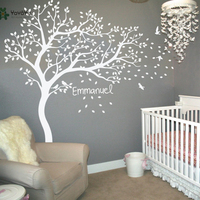 Wall Decal Vinyl Sticker Nursery Large White Tree Bird Custom Any Name And Color Kids Bedroom Decoration Removable Mural WW 344